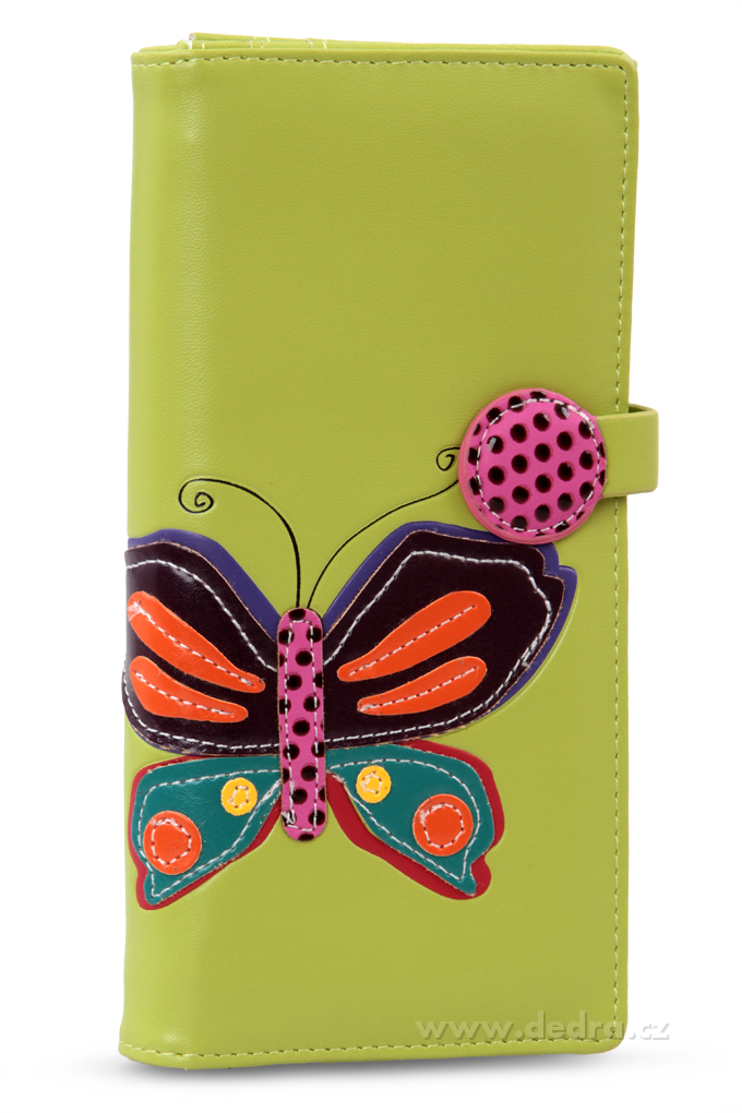 Dámská peněženka s aplikací motýla zelená Dedra
