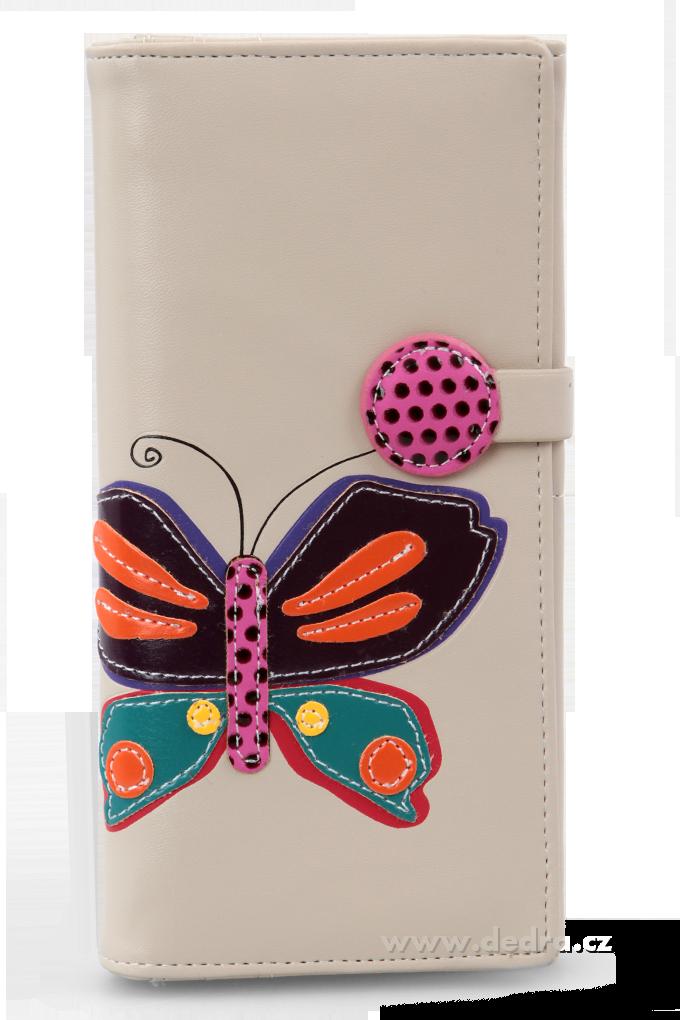 Dámská peněženka s aplikací motýla přírodní Dedra