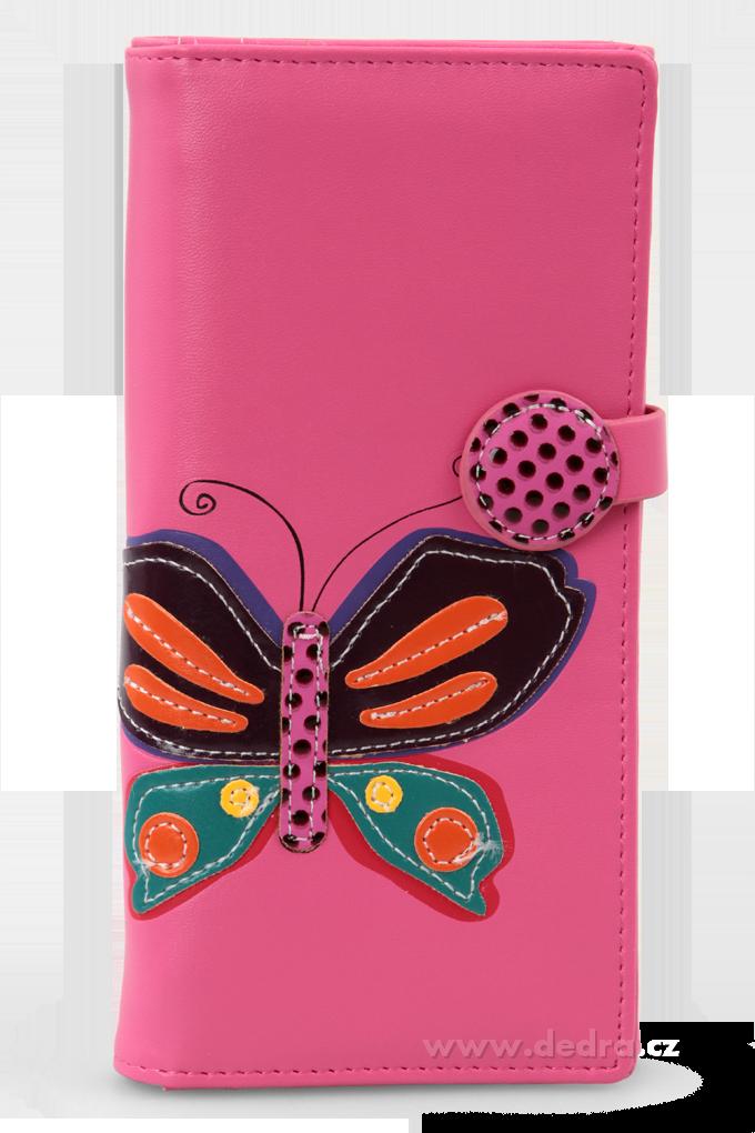 Dámská peněženka s aplikací motýla růžová Dedra