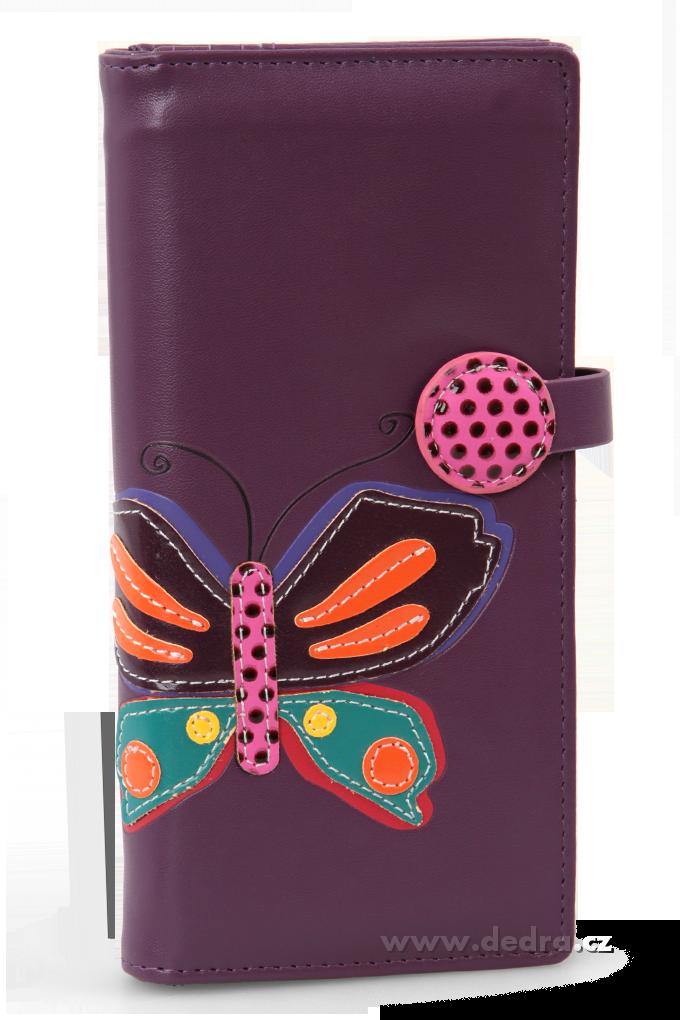 Dámská peněženka s aplikací motýla fialová Dedra