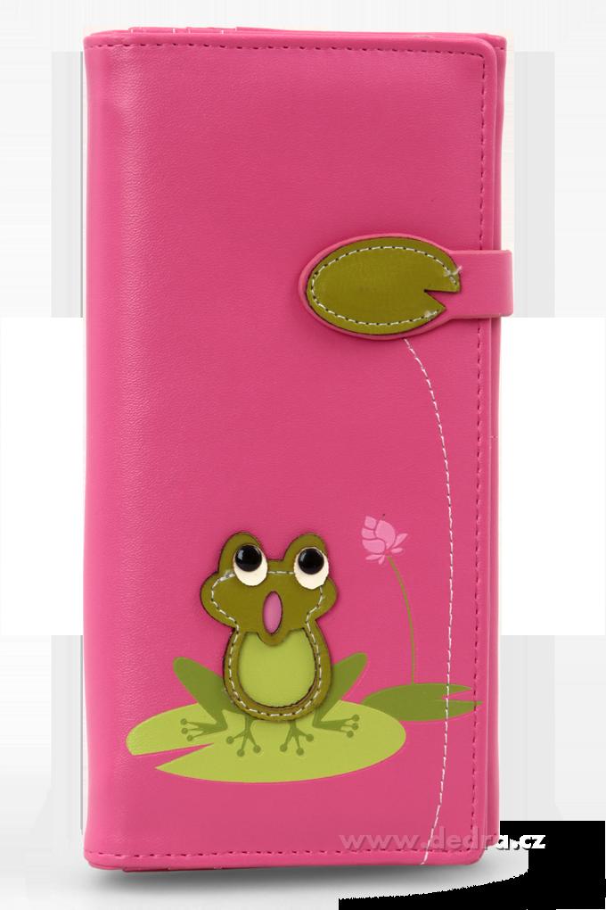 Dámská peněženka s aplikací žabky růžová Dedra
