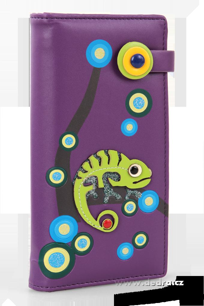 Dámská peněženka s aplikací chameleon fialová Dedra