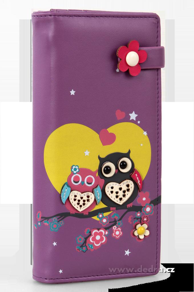 Dámská peněženka s aplikací 2 sovičky fialová Dedra