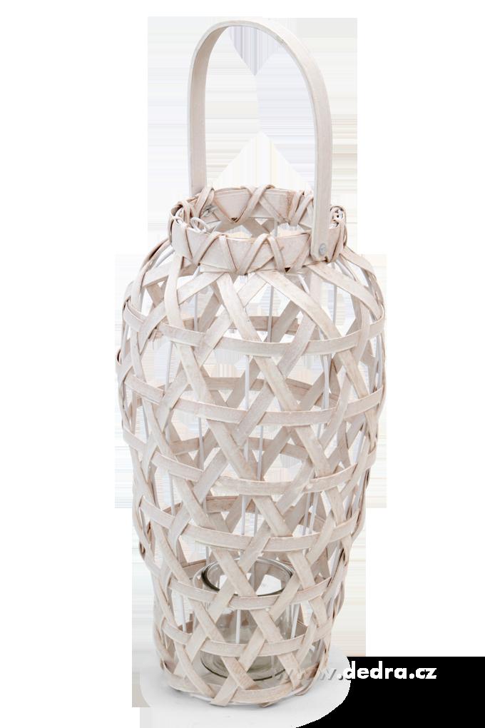 Dedra Vysoký svícen/váza dřevěný výplet a kov smetanový