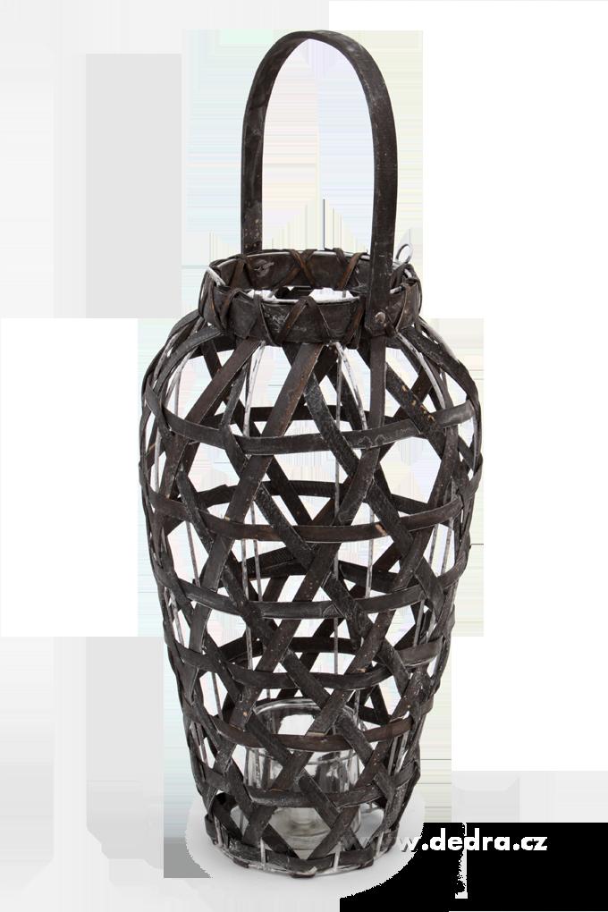 Dedra Vysoký svícen/váza dřevěný výplet a kov antracitový