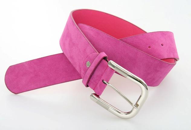 Dámský pásek z broušené ekokůže růžový