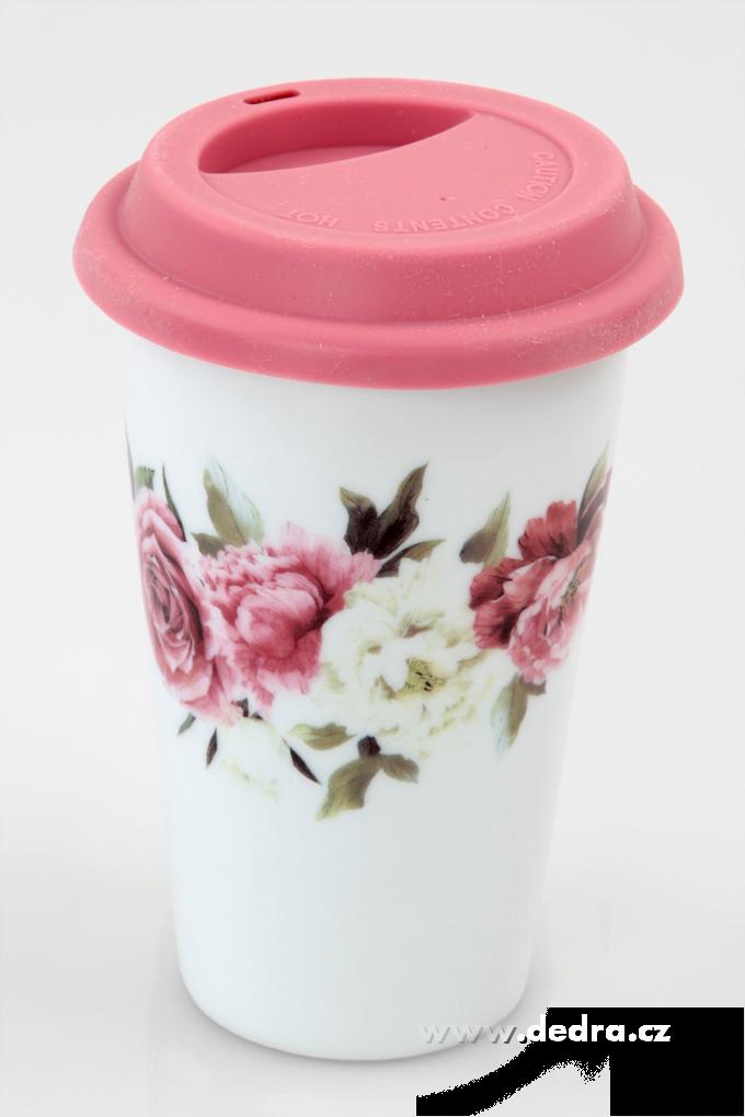 Dedra Dvoustěnný porcelán. termo hrnek KELIMERO s romantickými květy