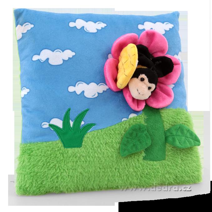Dedra Plyšový polštář s 3D dekorací květinka s včelkou