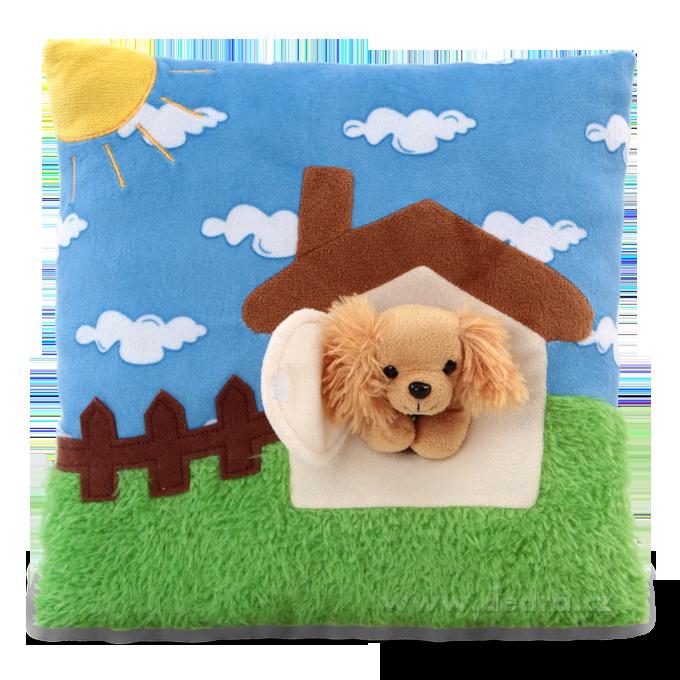 Dedra Plyšový polštář s 3D dekorací domek s pejskem