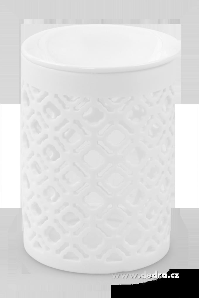Dedra Keramická aromalampa s krajkovým dekorem válcovitá bílá