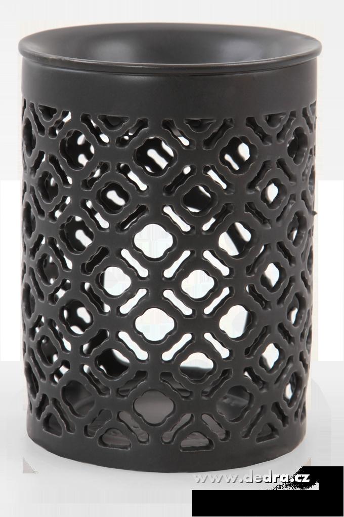 Dedra Keramická aromalampa s krajkovým dekorem válcovitá černá