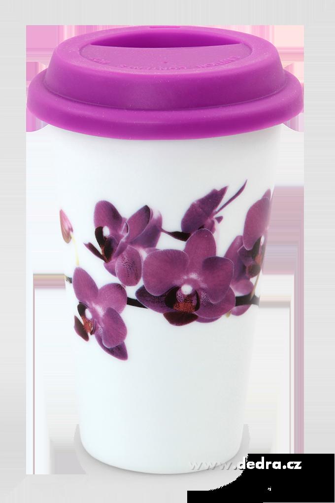 Dedra Dvoustěnný porcelán. termo hrnek KELIMERO s orchidejí