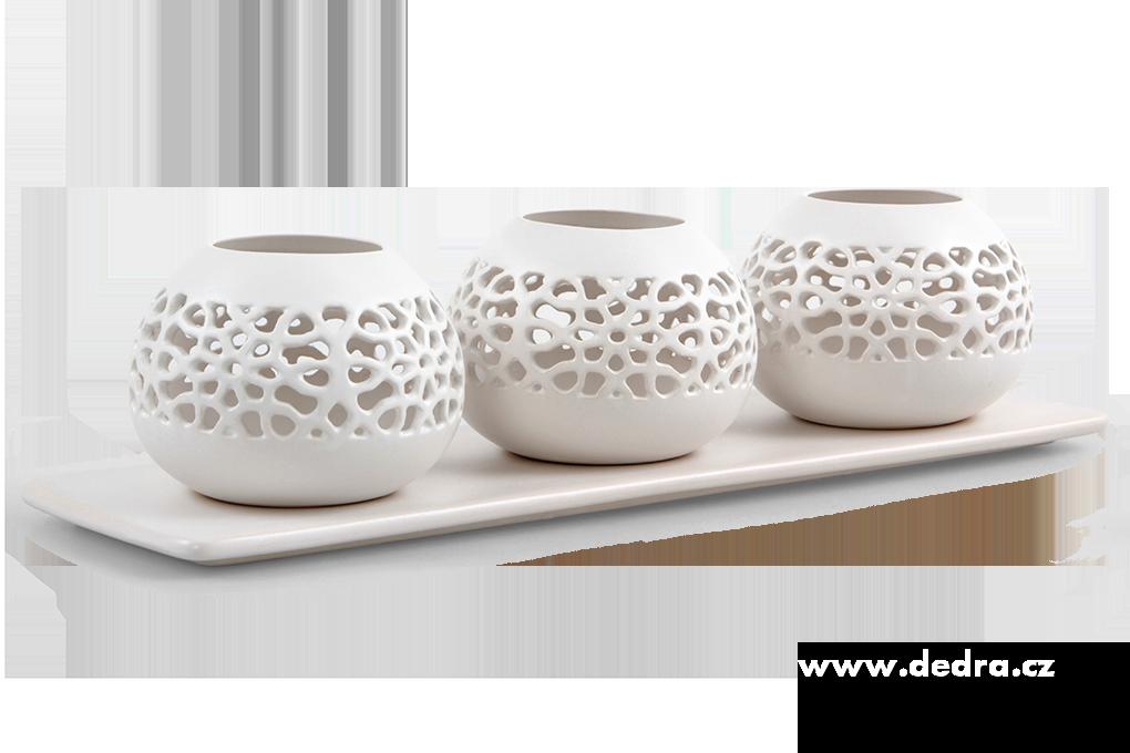 Dedra Bali ceramics 3 svícen na čajovou svíčku více barev