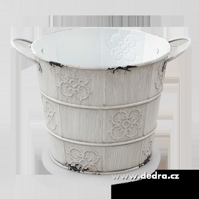 Dedra Obal na květináč kovový s patinou bílý , výška 15,5 cm