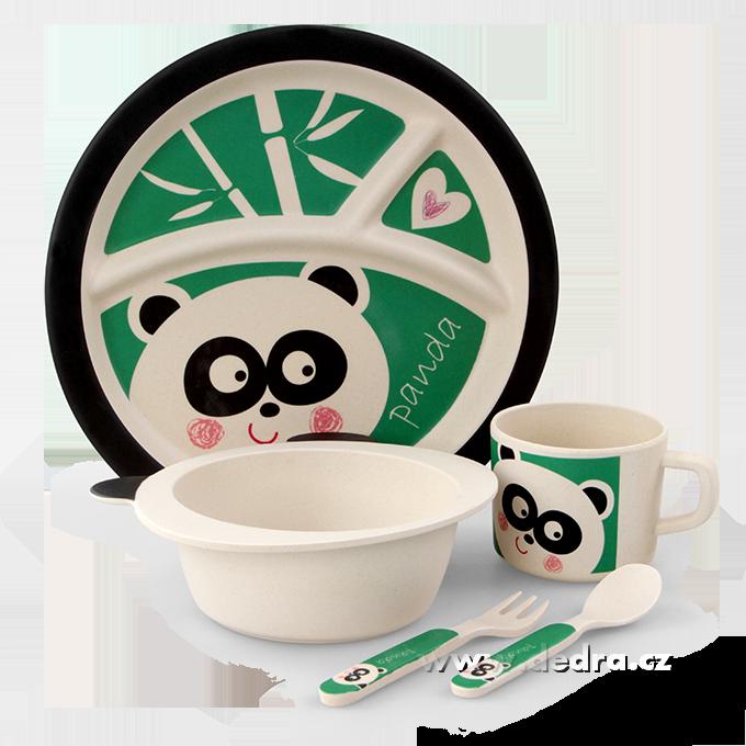 Dedra 5 dílná dětská sada pro děti - panda GoEco Bamboo sada