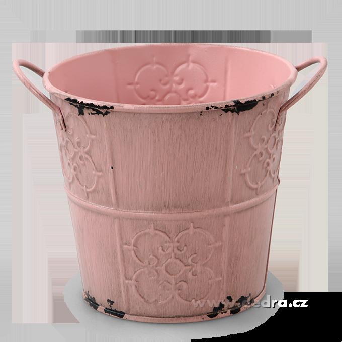 Dedra Obal na květináč kovový s patinou růžový , výška 11,5 cm