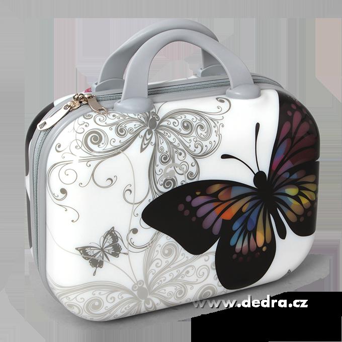 Dedra Kufr příruční větší white butterfly 37 x 17 x 30 cm