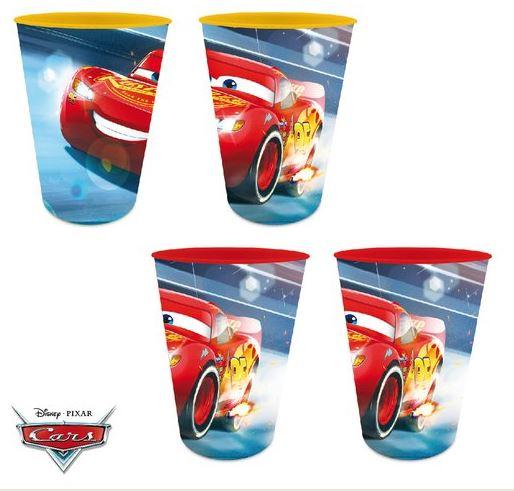 Eli Sada 4ks plastové skleničky, kelímky Auta, Cars