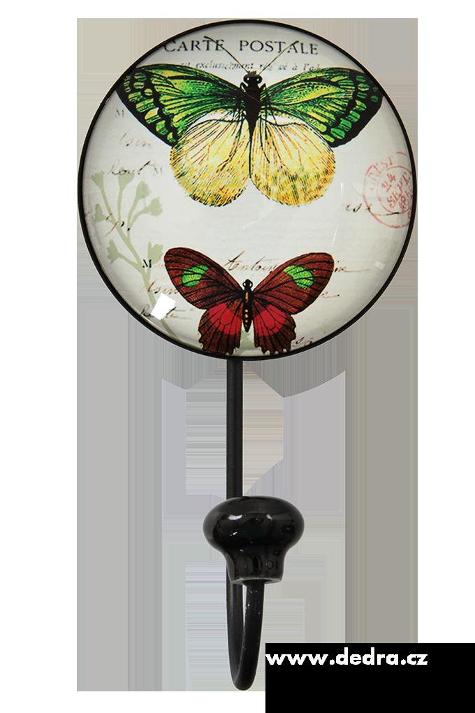 Dedra Věšák/háček na zeď plastický 3D efekt motýli