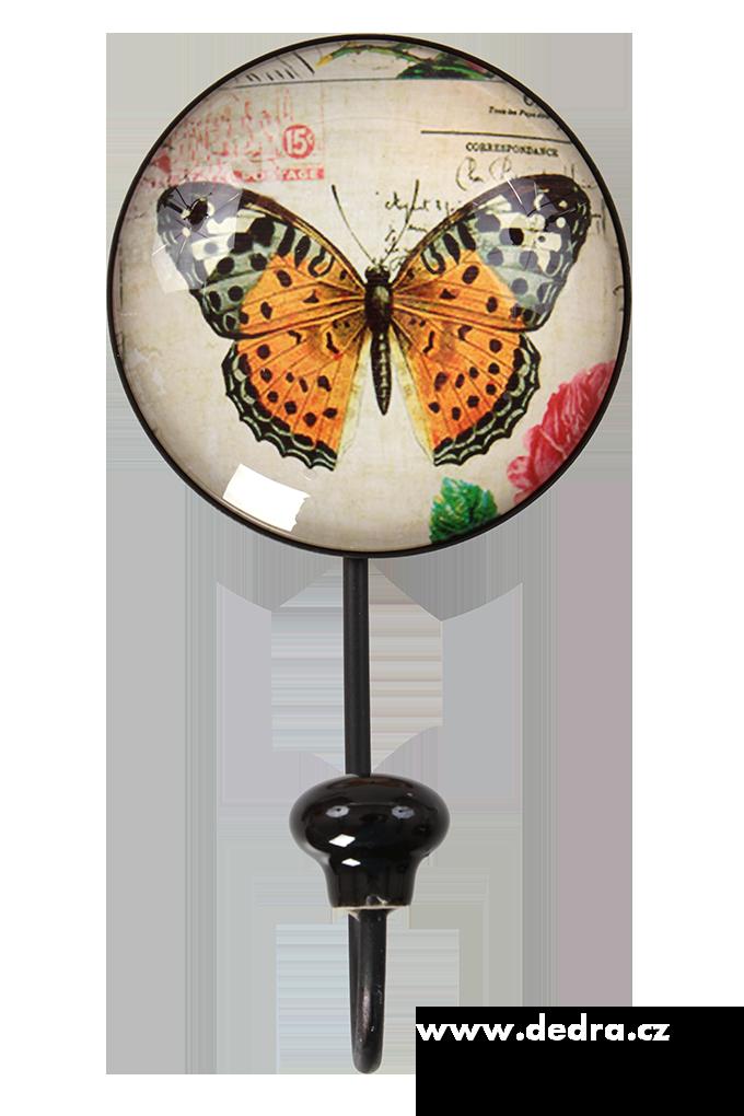 Dedra Věšák/háček na zeď plastický 3D efekt šikmá motýl