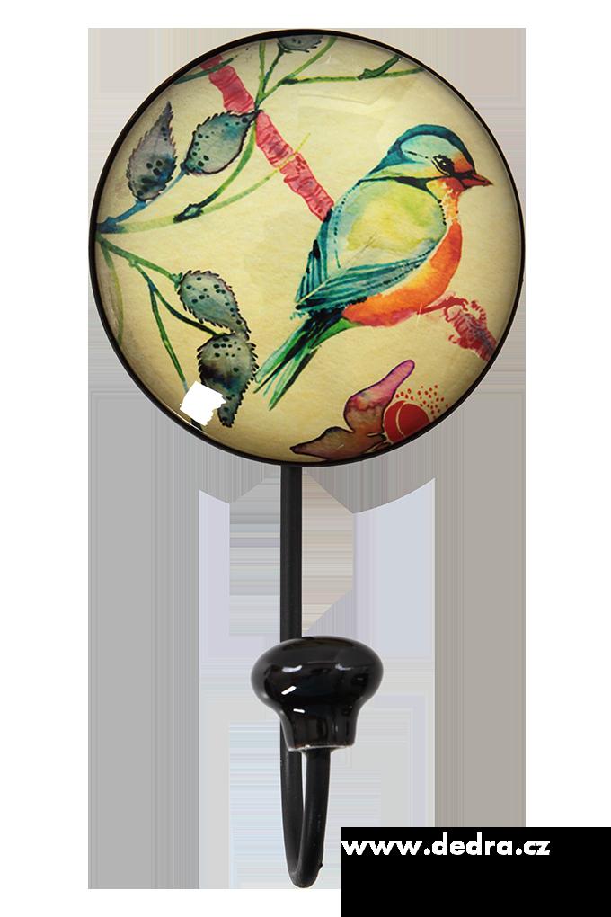 Dedra Věšák/háček na zeď plastický 3D efekt šikmá ptáček