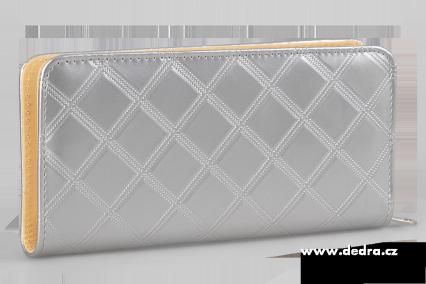 Dedra Psaníčko stříbrné uzavíratelná na zip z ekokůže