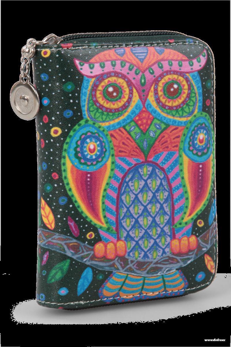 Dedra Dámská peněženka s motivem sovy z ekokůže