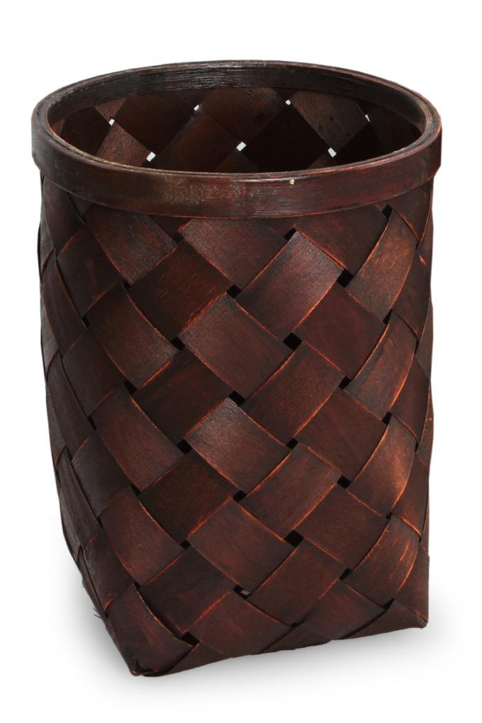 Dedra Splétaný koš z bambusové dýhy mahagonový