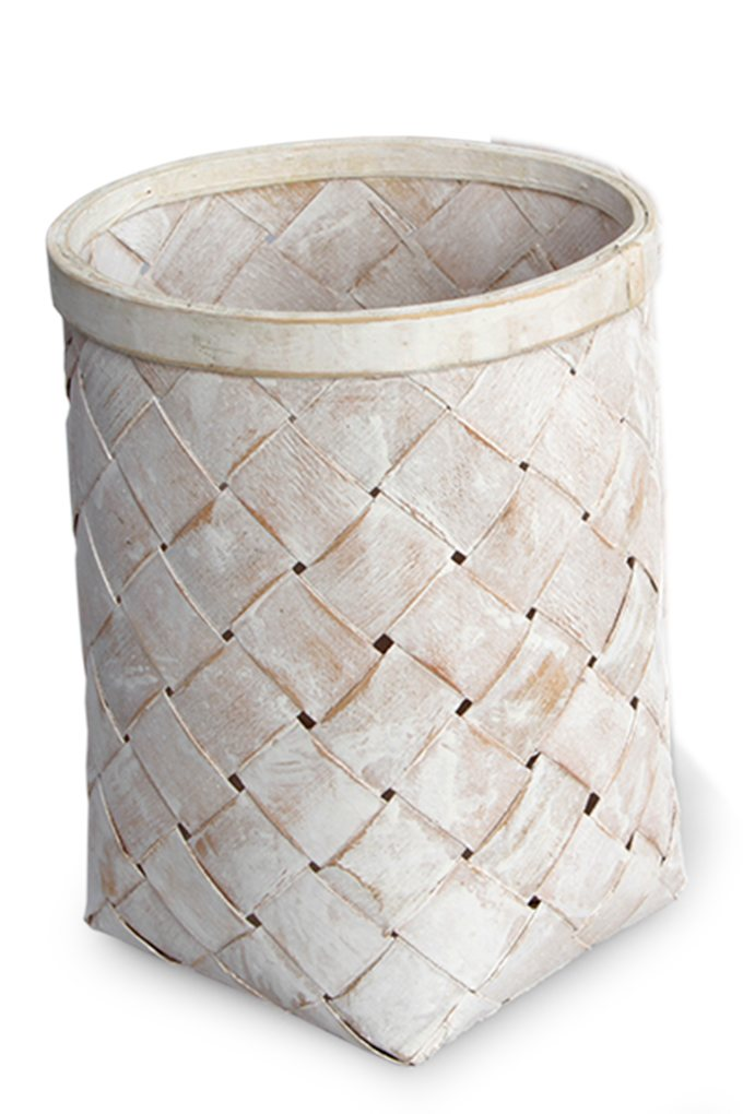 Dedra Splétaný koš z bambusové dýhy bílá patina