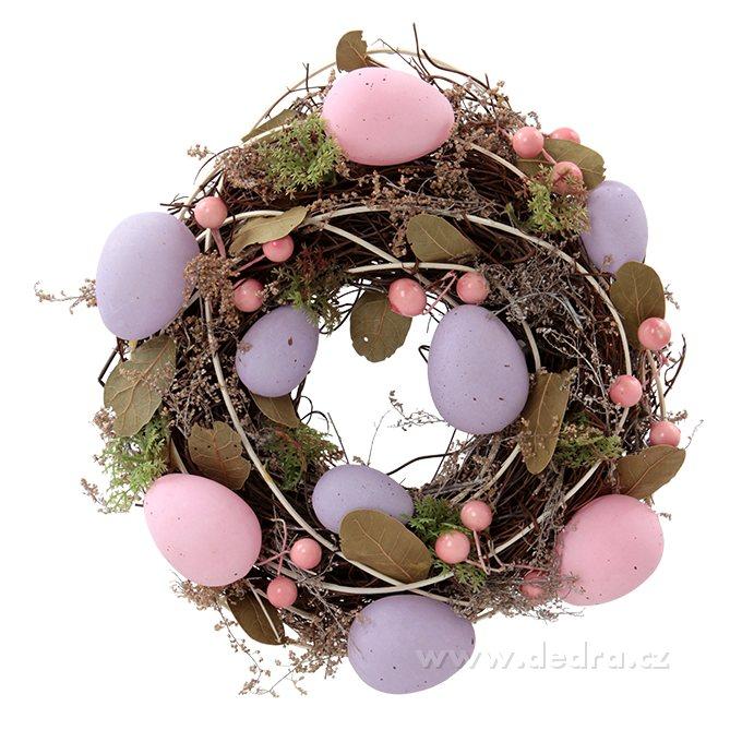 Dedra Dekorativní věnec s fial.a růž.vajíčky a přízdobou