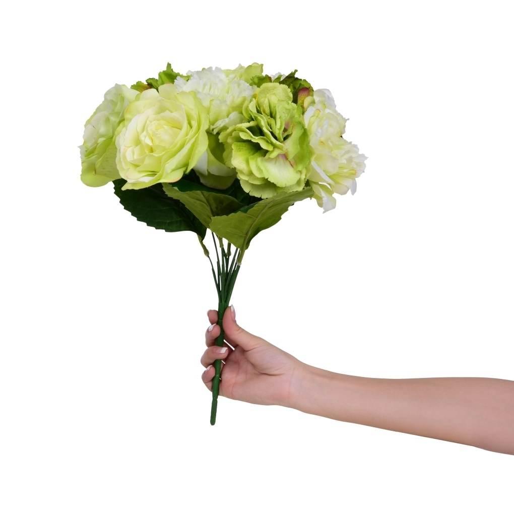 Dedra Pugét RŮŽÍ bílo-zelené výška cca 40 cm ateliérová květina