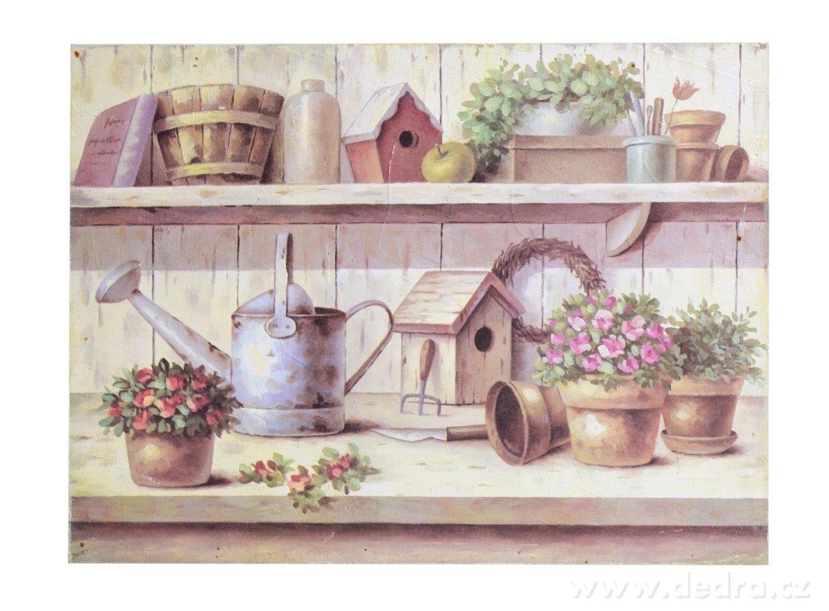 Dedra Dřevěný obraz s motivem zahradních dekorací přírodní tóny
