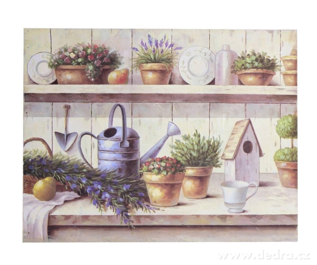 Dedra Dřevěný obraz s motivem zahradních dekorací fialové tóny