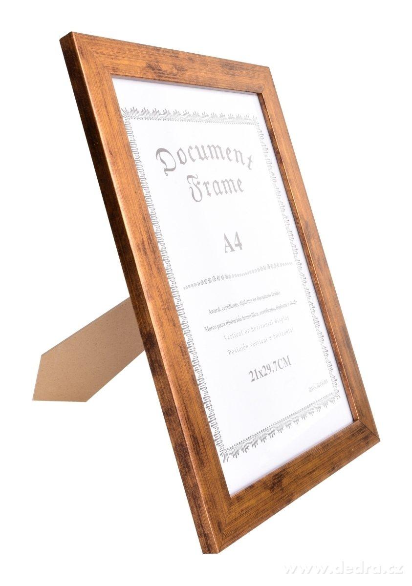 Dedra Dřevěný fotorámeček zlatý s patinou na foto 21 x 30 cm